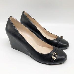 COLE HAAN Elsie Black Leather Wedge Pump